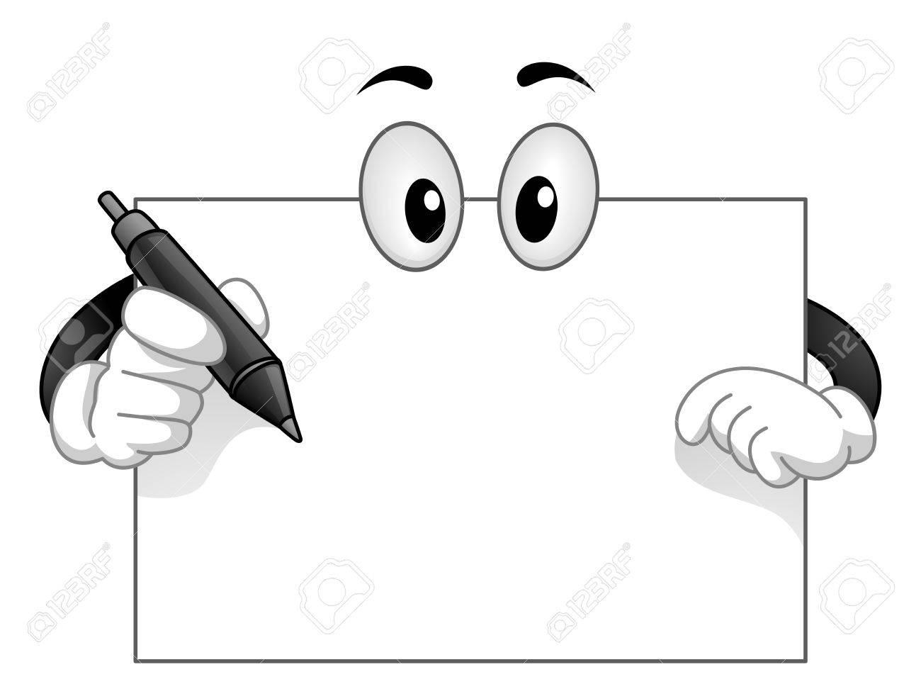 ぎょろ目にペンで空白のホワイト ボードのマスコット イラスト の写真
