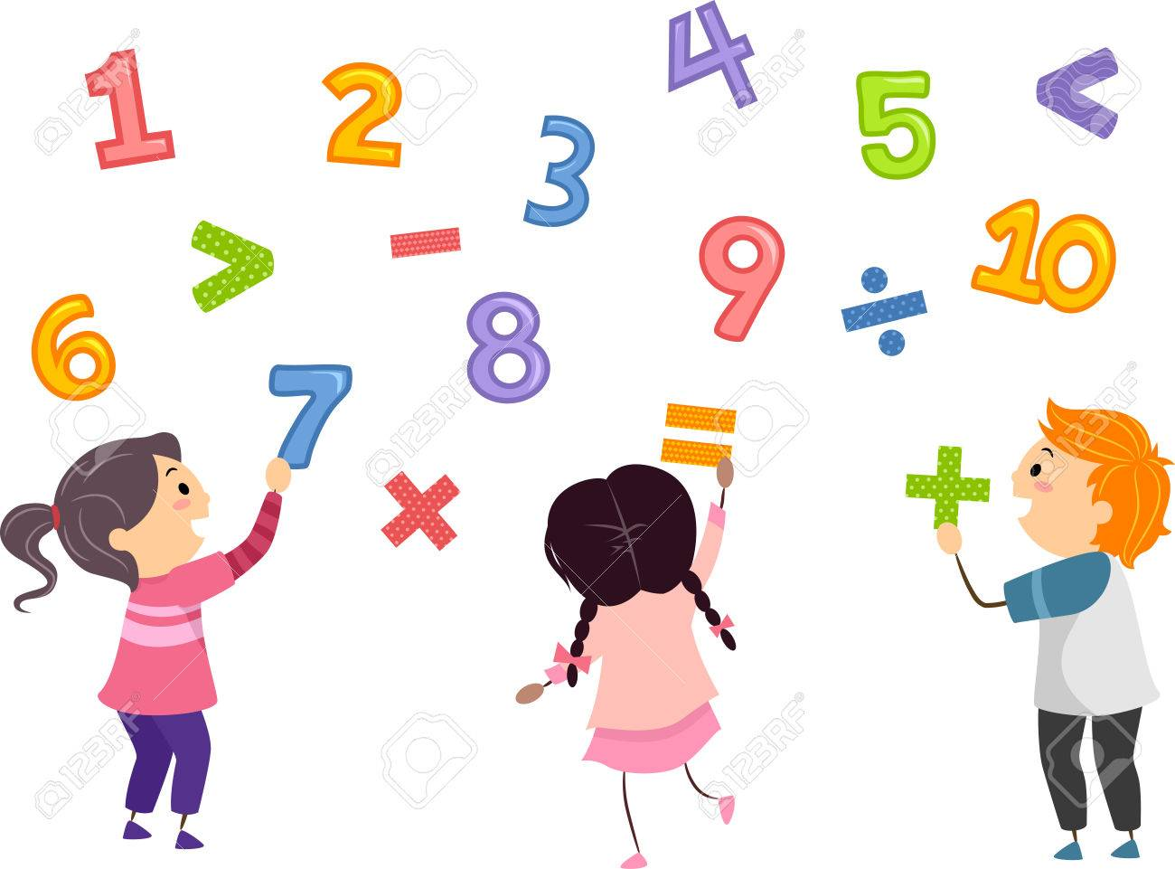 Stickman Illustration Of Preschool Kids Playing With Numbers Stock
