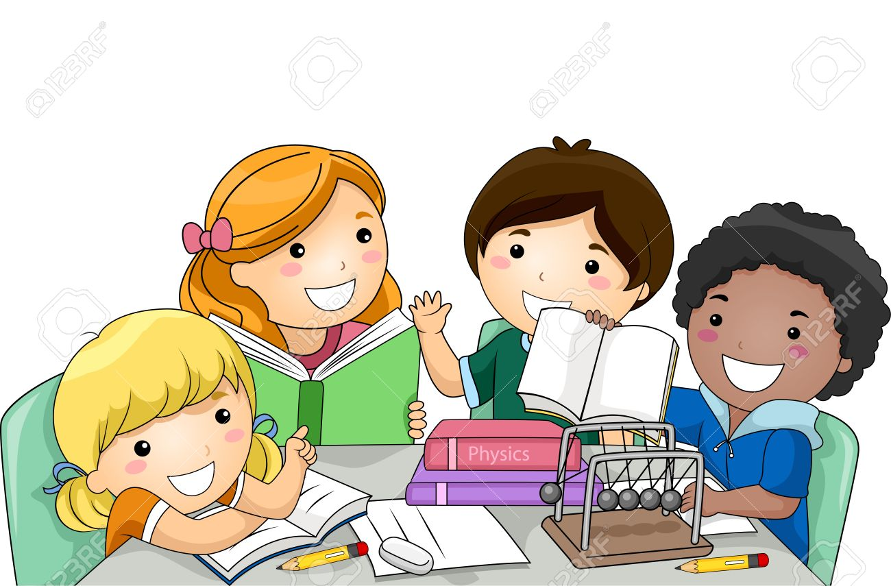 illustration of a diverse group of preschool kids studying physics