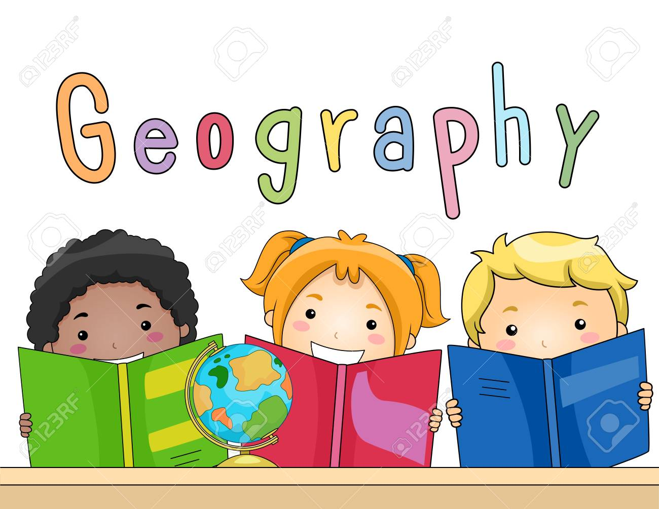 Illustration Of A Diverse Group Of Preschool Kids Studying ...
