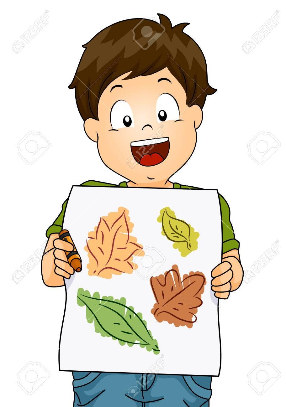 Ilustración De Un Niño Pequeño Que Presenta Su Dibujo Hecho A Partir ...
