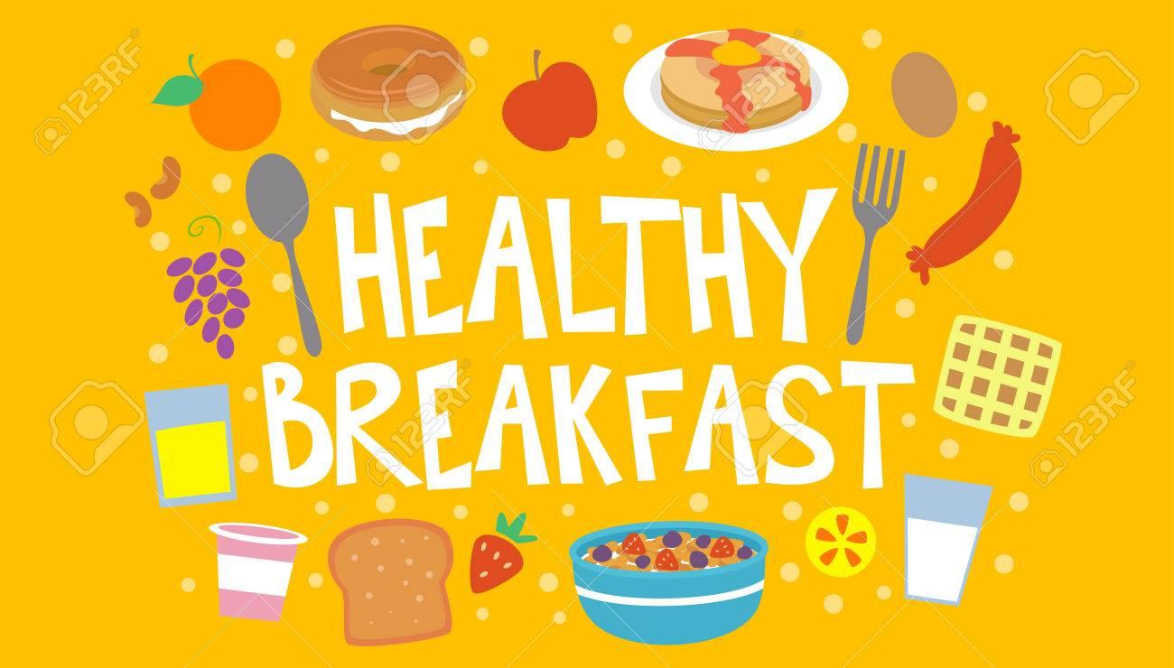Colorido De La Tipografía Ilustración Con El Desayuno Saludable