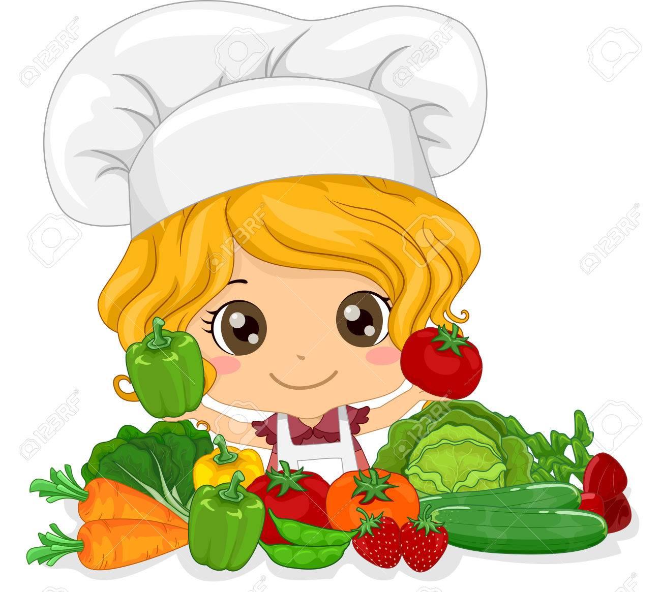 新鮮な提示トークでかわいい女の子のイラストを選んだ野菜