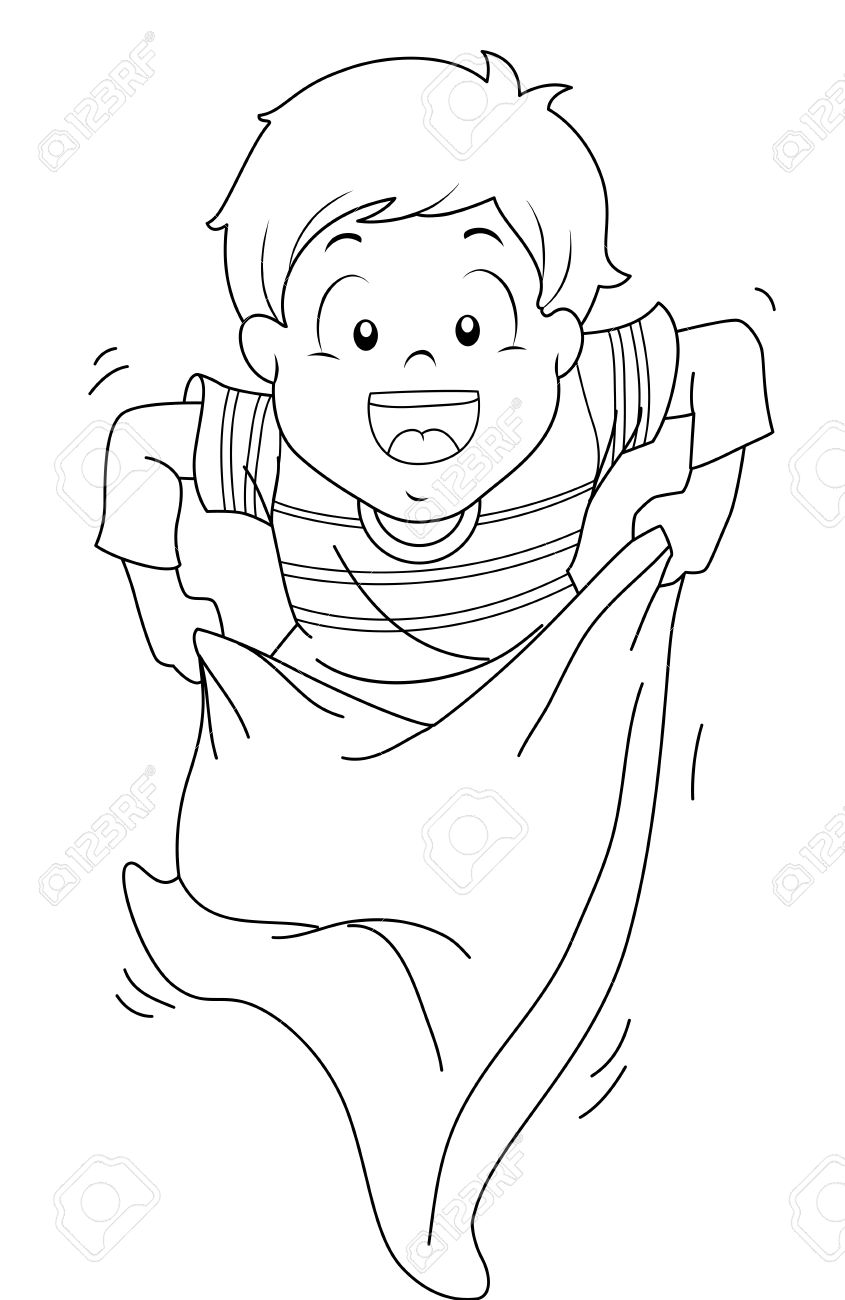 coloring page illustration of a little boy hopping eagerly while