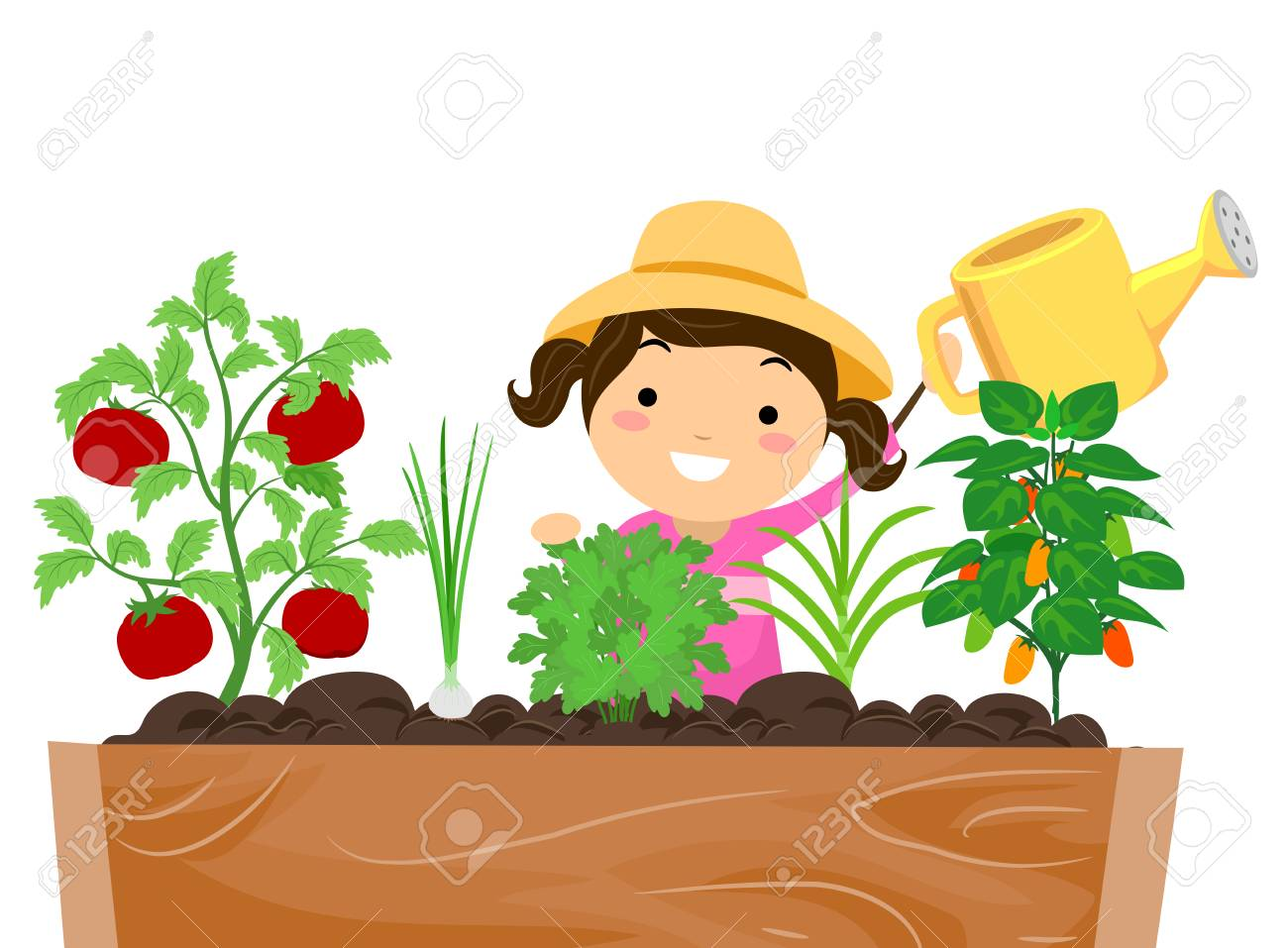 Illustration - Stickman Illustration of a Little Girl in a Sun Hat Watering  the Plants in Her Garden 40cae31b9a1d