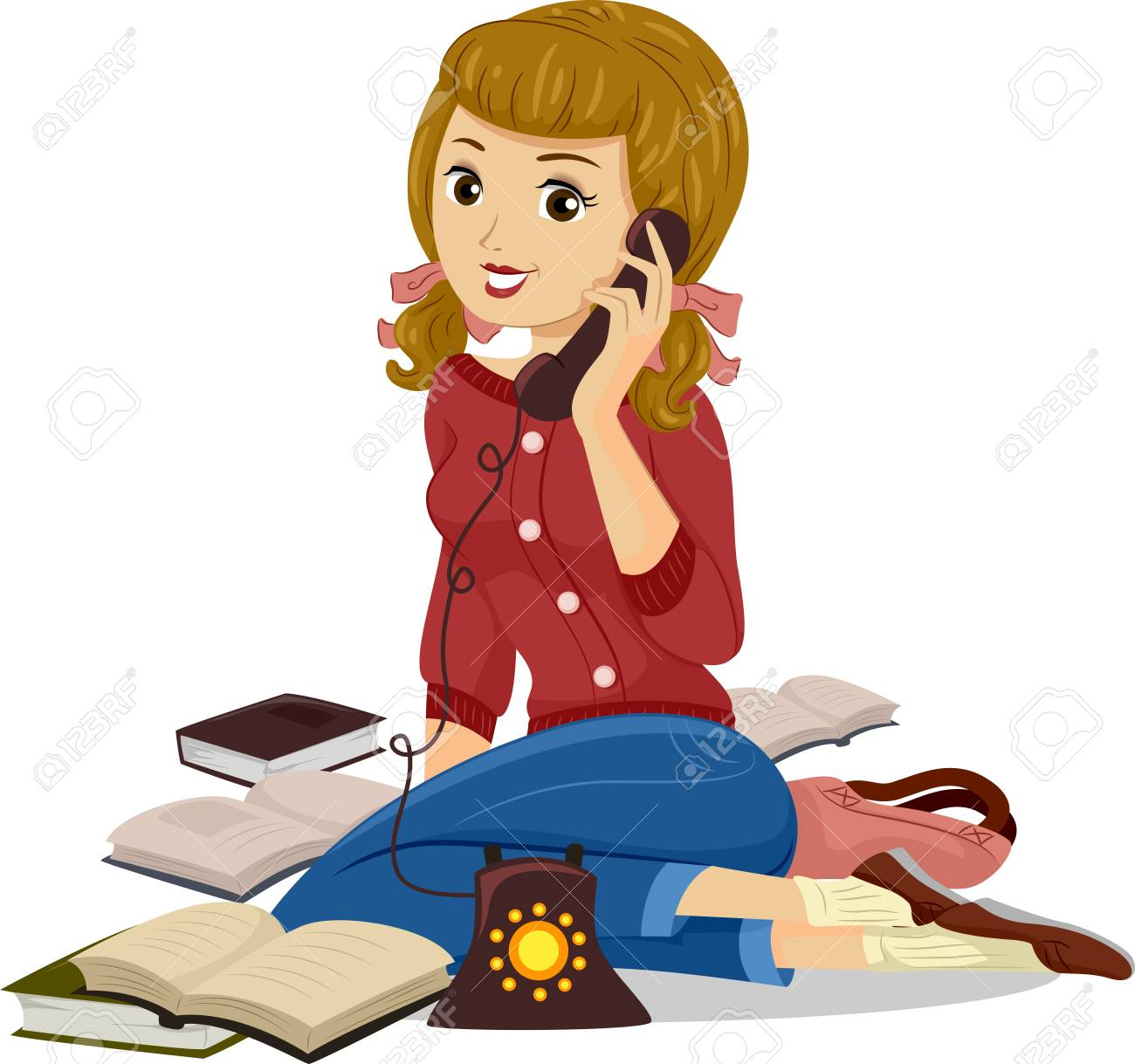 Girl Studying On the Phone Clip Art