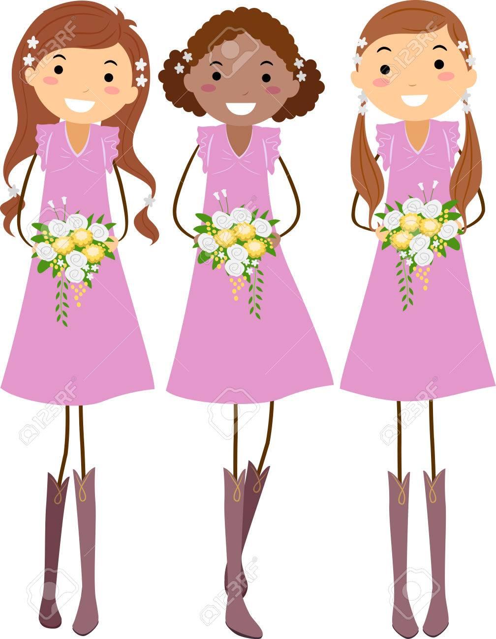 Ilustración De Stickman Con Jóvenes Damas De Honor En Vestidos De ...