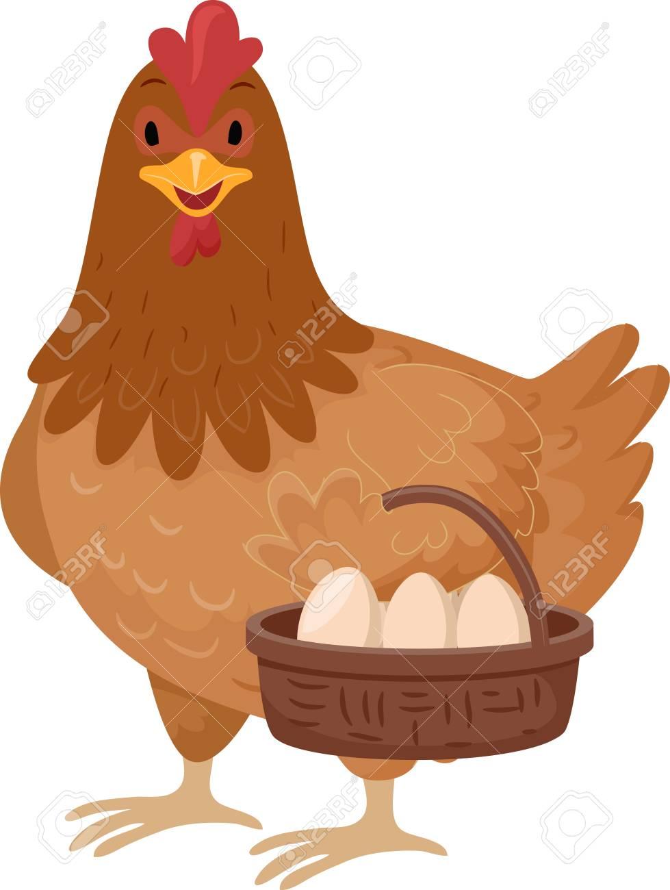 動物イラストのバスケットを運ぶかわいい茶色の鶏の卵の完全