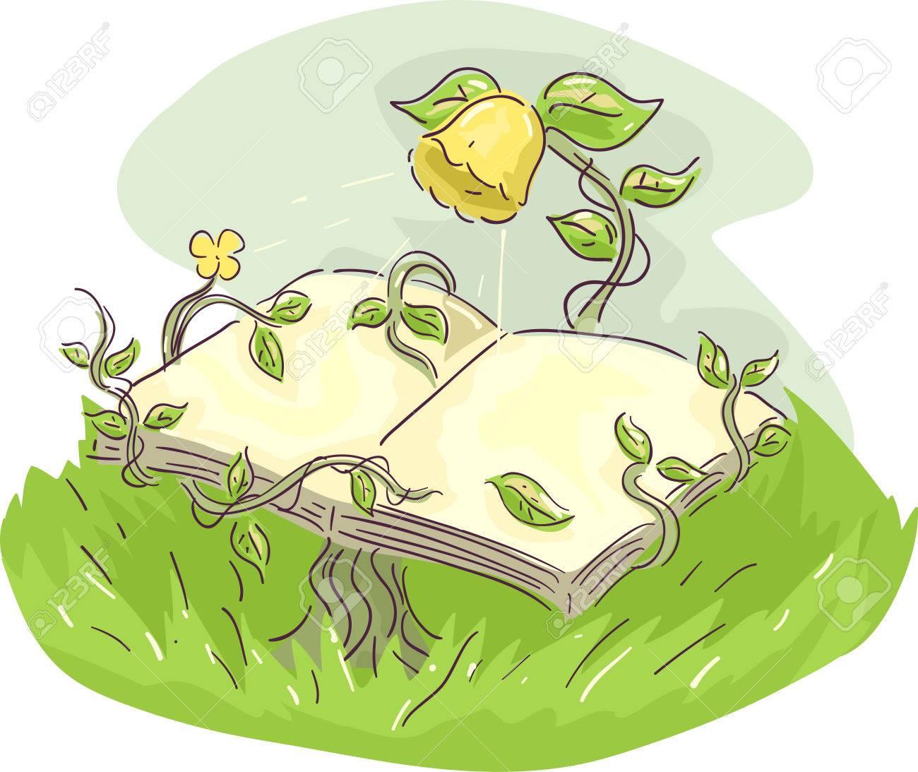 そのブドウの開いた本を支える黄色い花の気まぐれなイラスト の写真素材