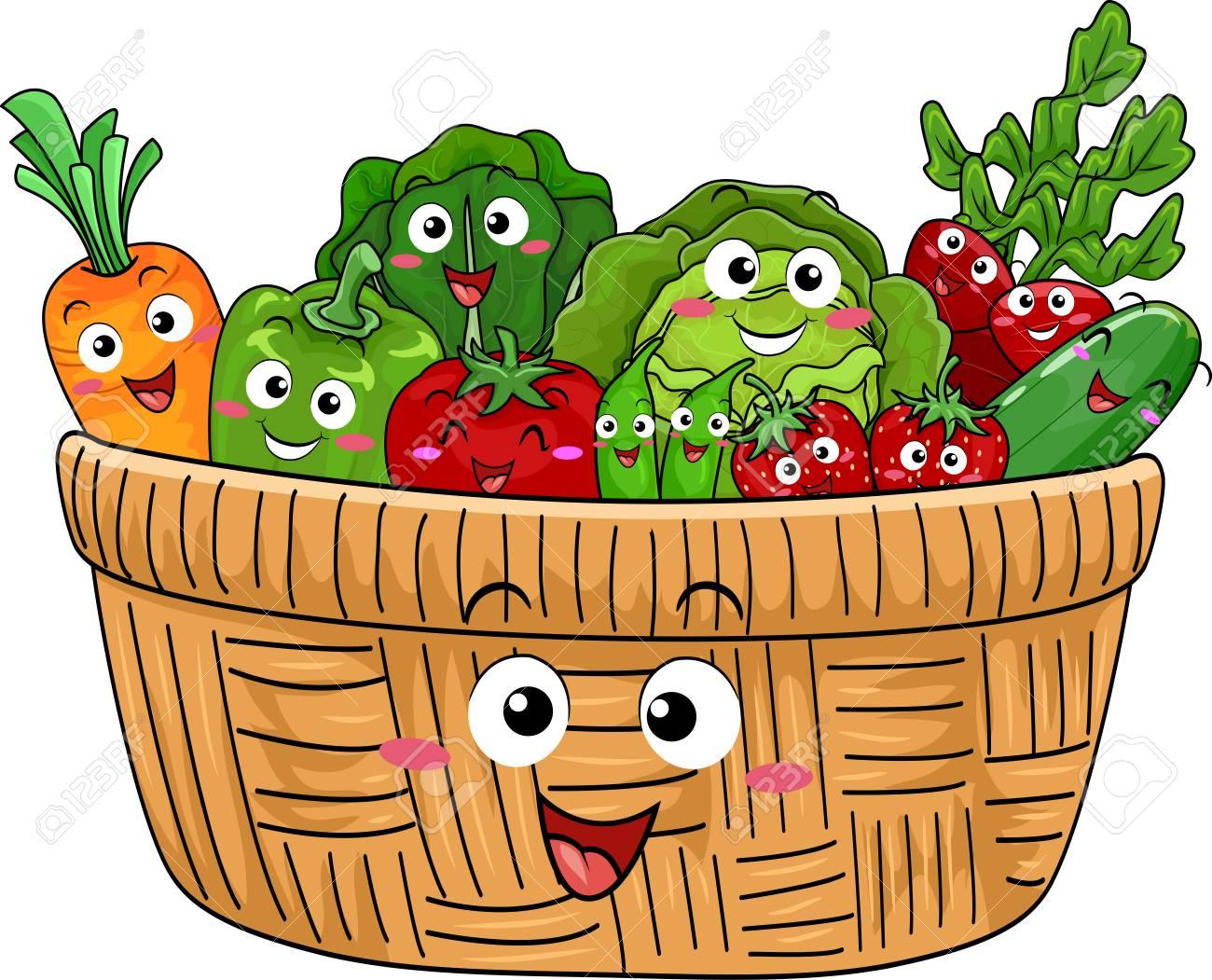 新鮮な収穫の果物と野菜いっぱいのかわいい木製バスケットを備え