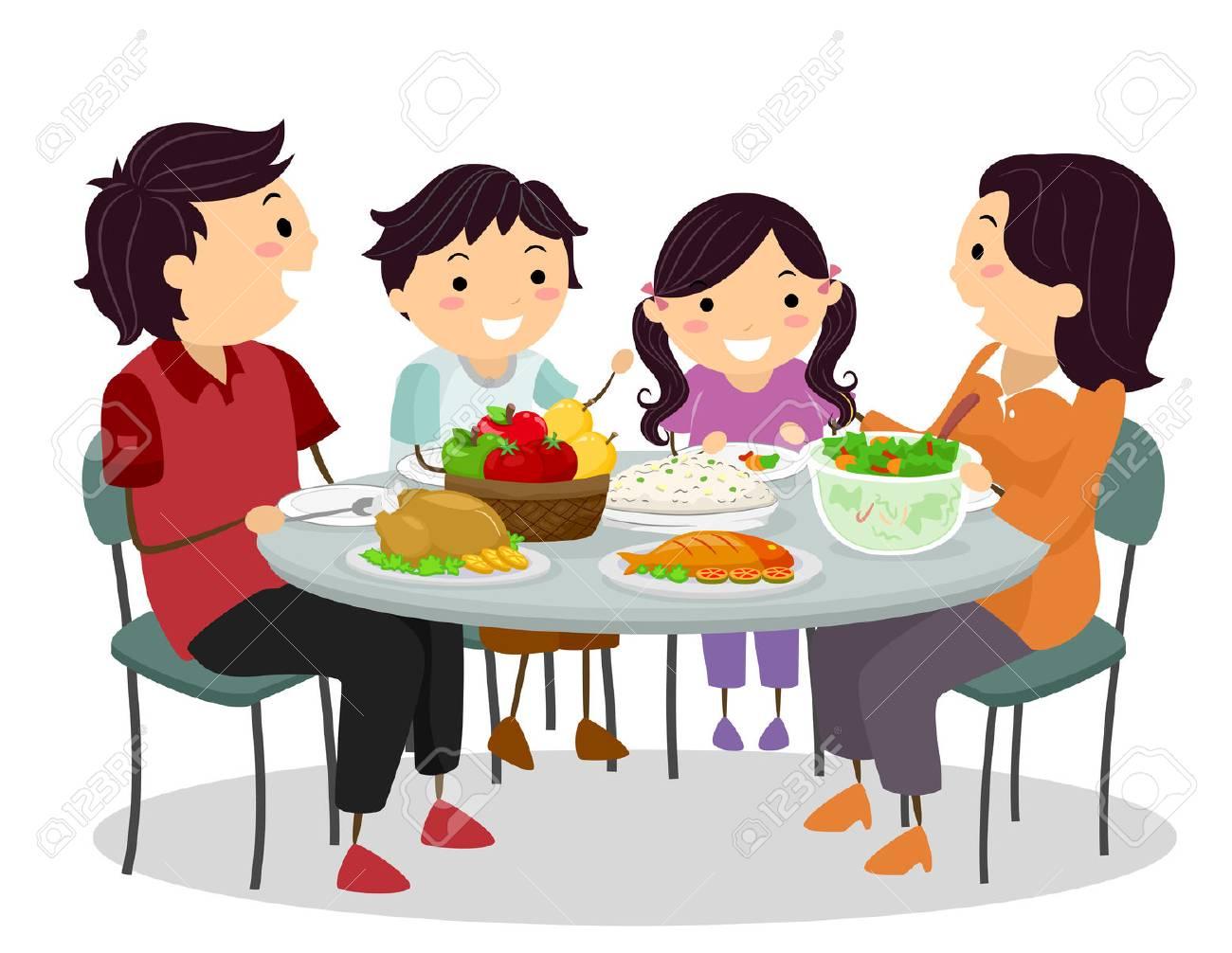 家族の食事を共有しながら楽しくおしゃべりのバッター イラスト の写真