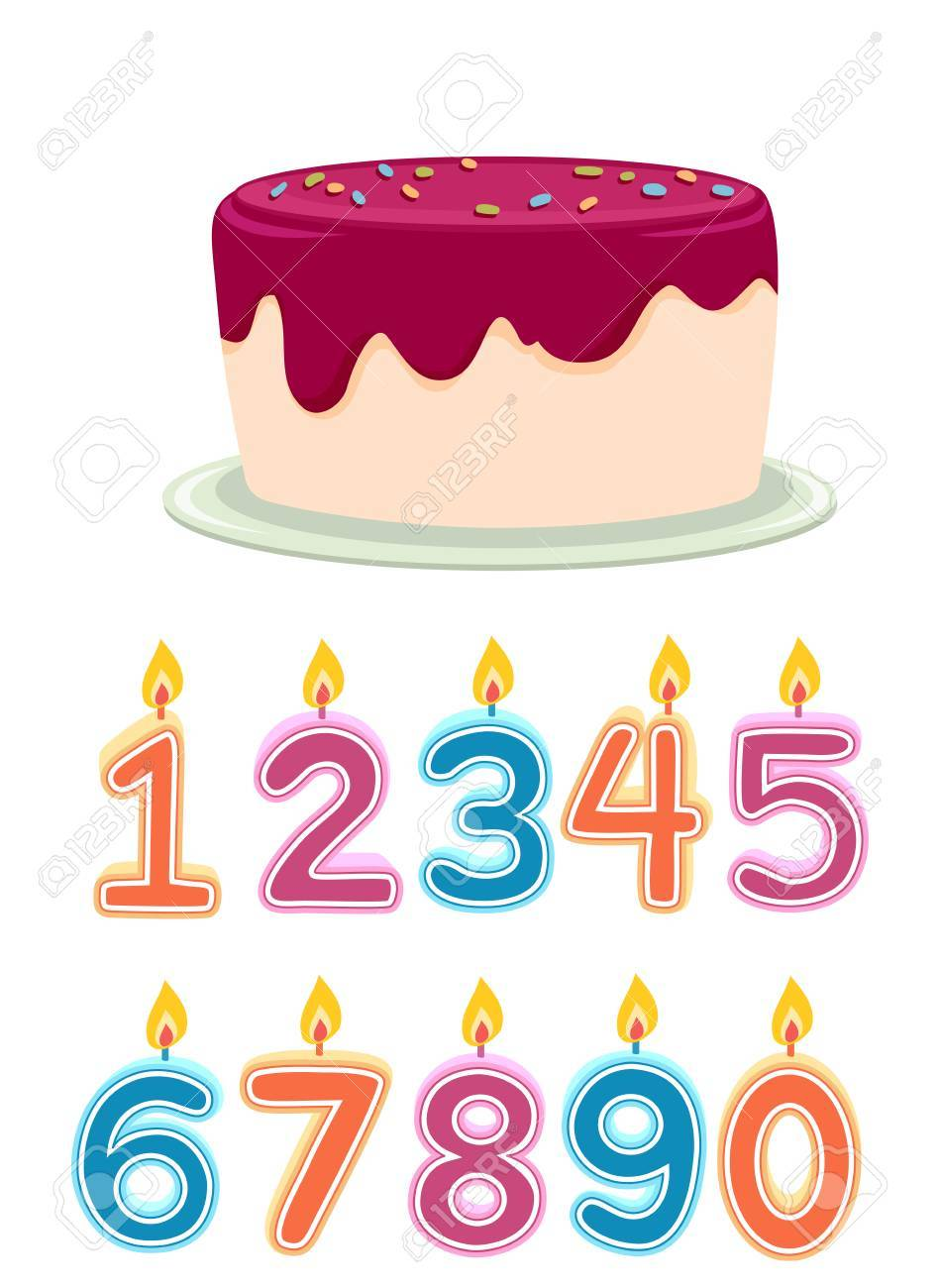 Colorful Illustration Featuring A Frosted Birthday Cake With Lit Candles Shaped Like Numbers Placed Below It