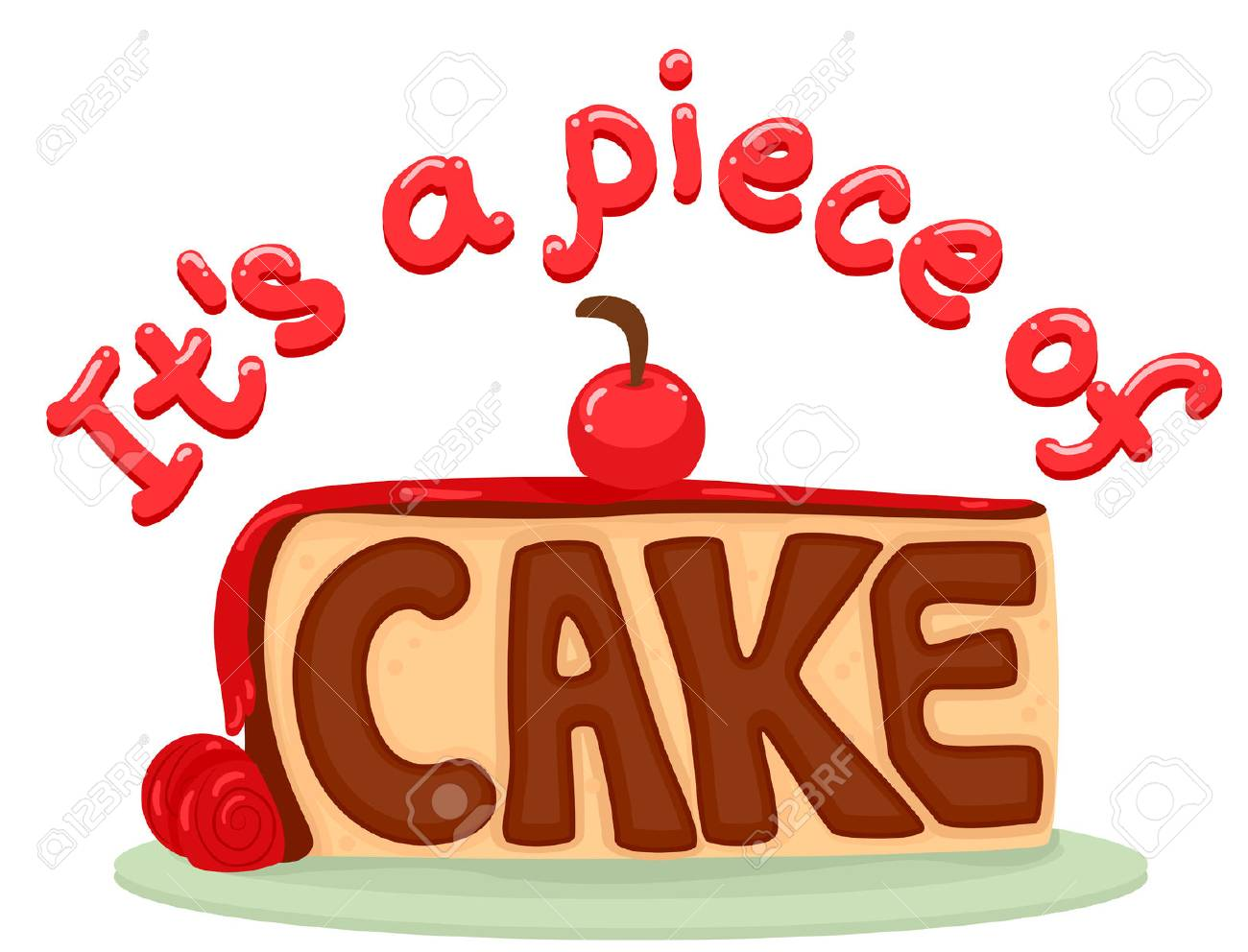 Illustration - Typography Illustration Featuring a Slice of Cake with the  Idiom Piece of Cake