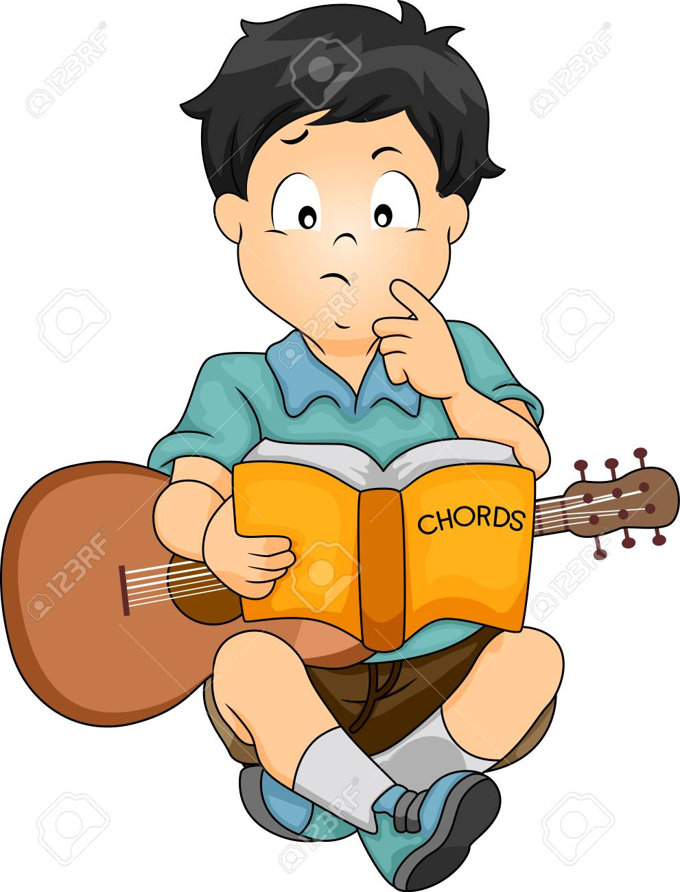 Illustration Featuring A Confused Boy With A Guitar On His Lap