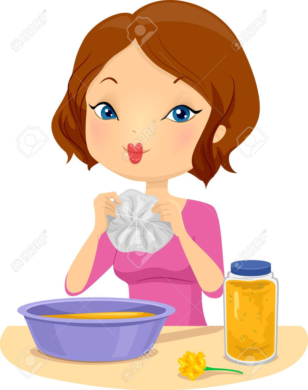 06496e9f Illustration of a Girl Making a Tie Dyed T-Shirt using Yellow Marigolds  Stock Illustration