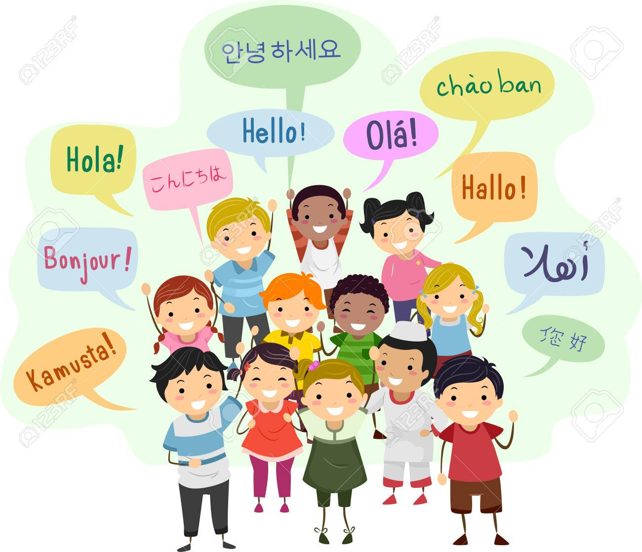 Illustration Of Stickman Kids And Speech Bubbles Saying Hello.. Stock  Photo, Picture And Royalty Free Image. Image 81645204.