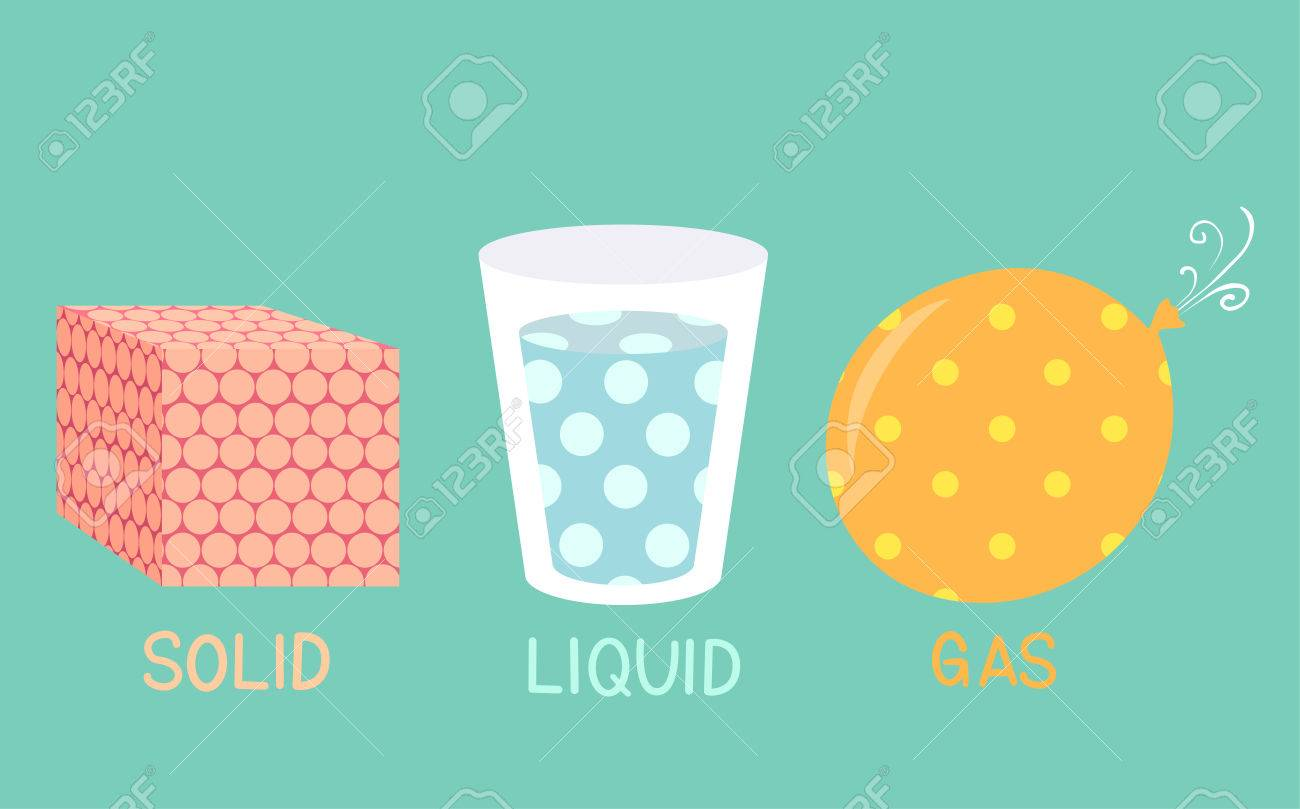 illustration of solid liquid gas molecules in a cube glass and