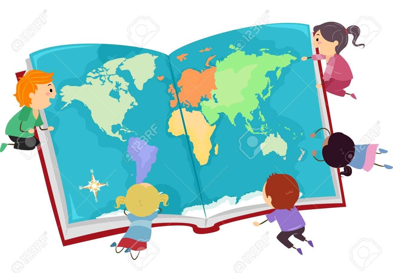 Illustration of stickman kids looking at a big world map on an illustration illustration of stickman kids looking at a big world map on an opened book gumiabroncs Image collections