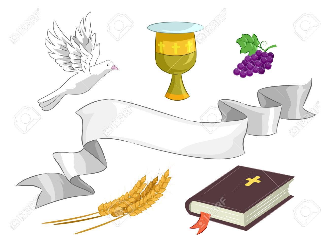 Ilustración De Diferentes Elementos Religiosos Incluida La Biblia