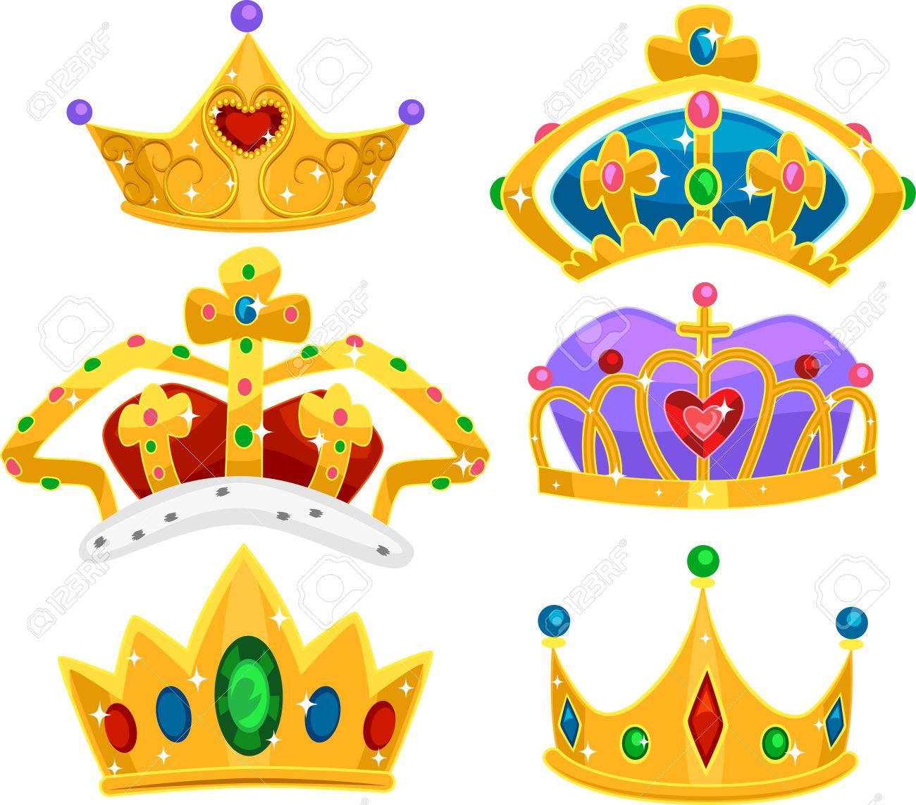 たっぷり光沢のある宝石の金の異なる高貴な王冠のイラスト の写真素材