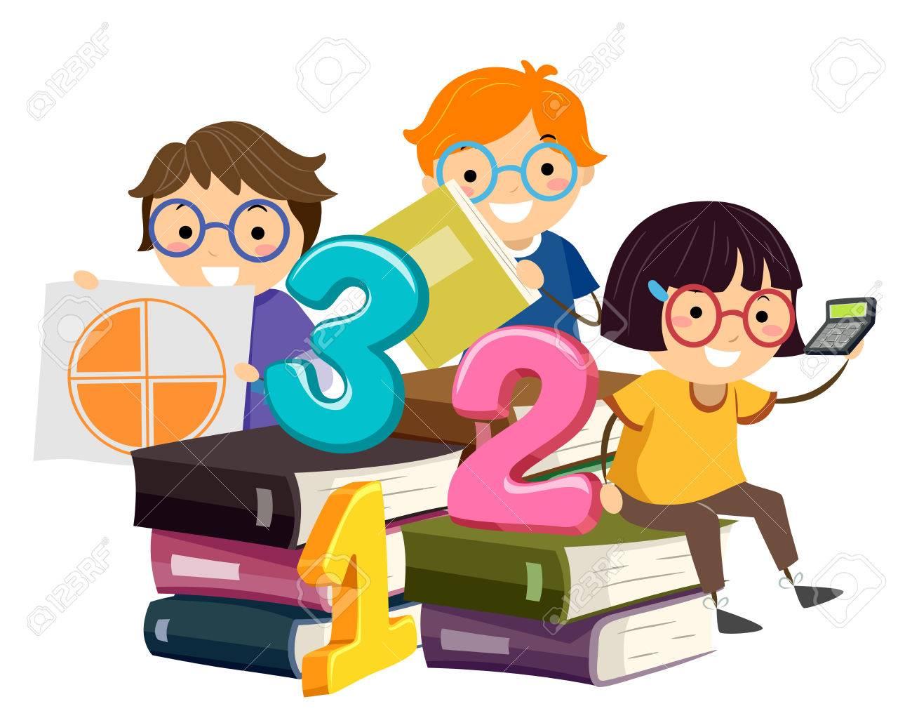 Illustration Of Stickman Kids Sitting On Math Books Holding Pie ...
