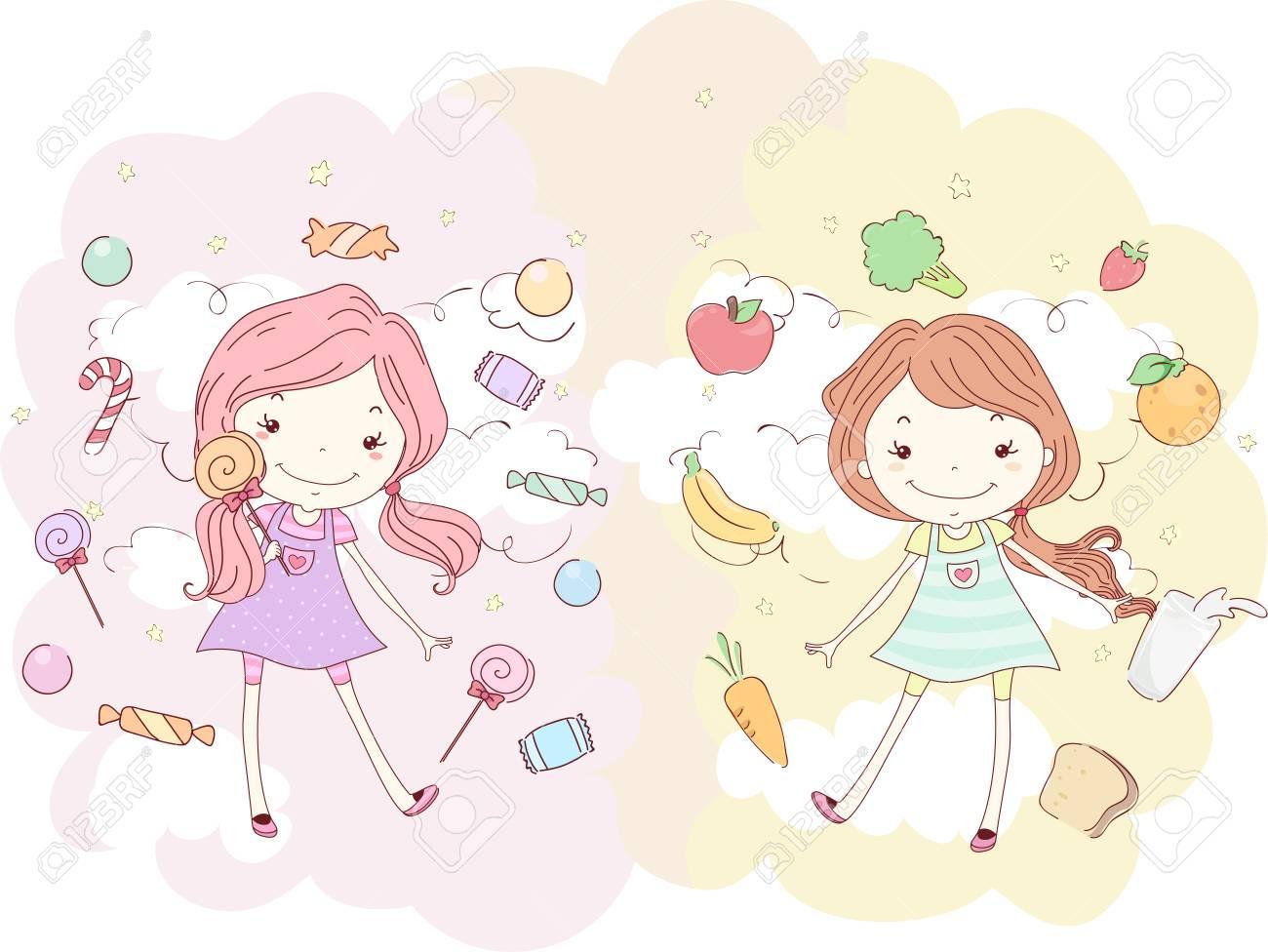 ピンクと別のお菓子に囲まれた女の子のイラストの女の子に囲まれて