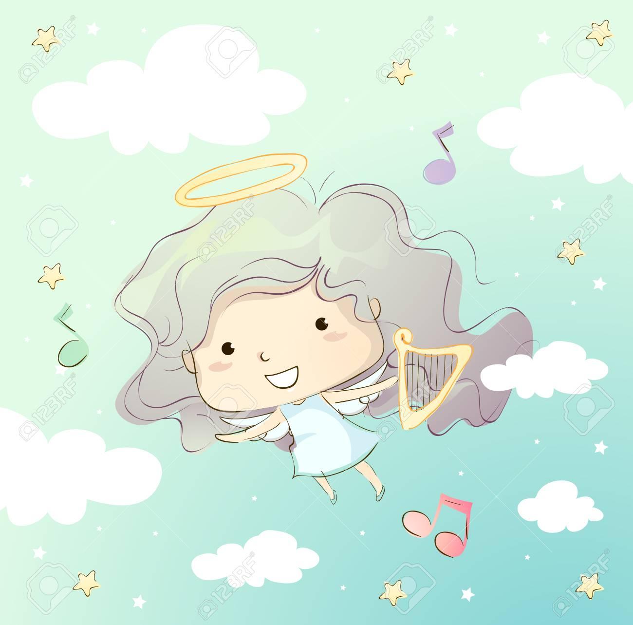 ハープを運ぶ天使のような服を着たかわいい女の子の気まぐれなイラスト