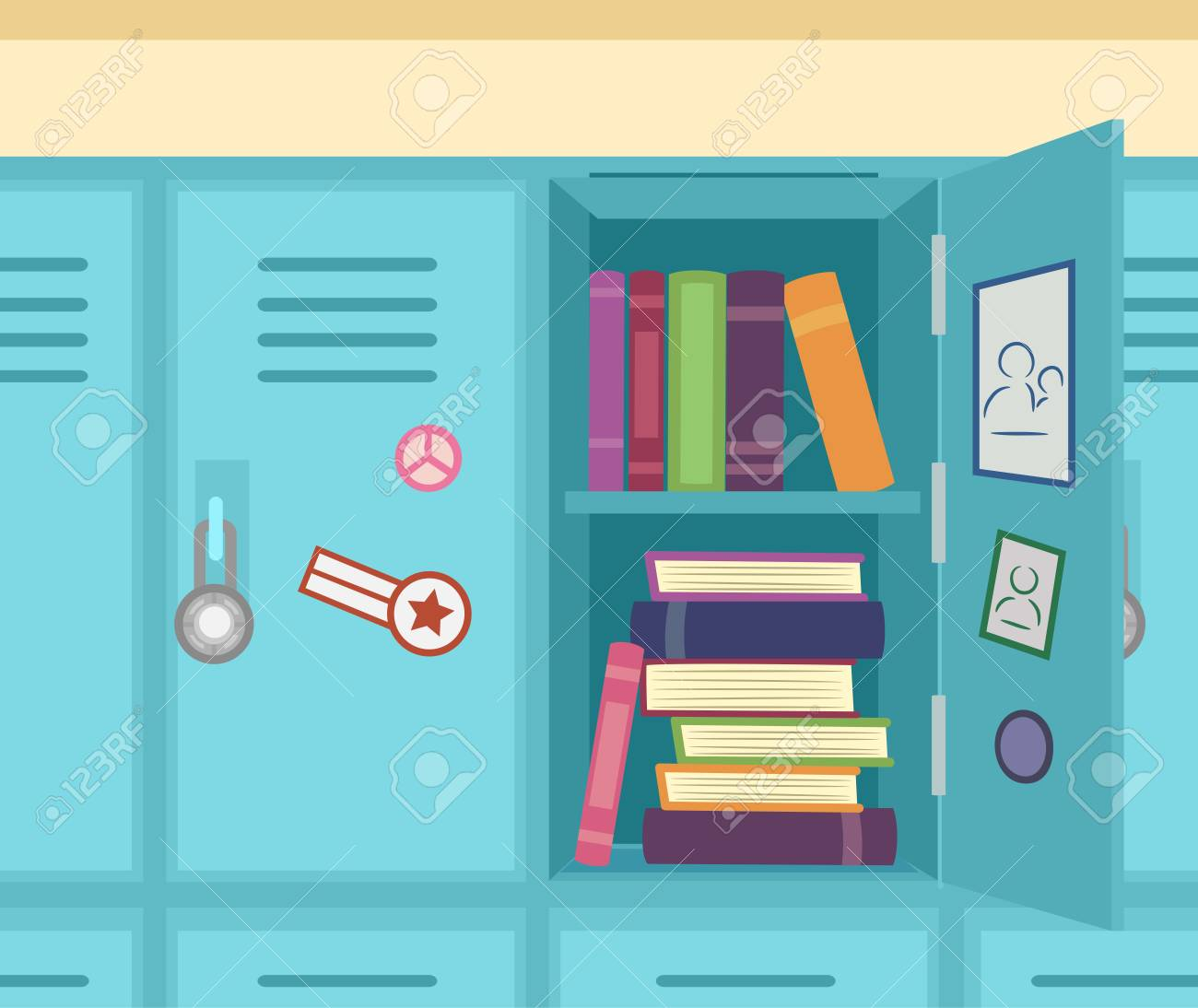 colorful illustration featuring an open school locker showing stacks of  books stock illustration - 83242354