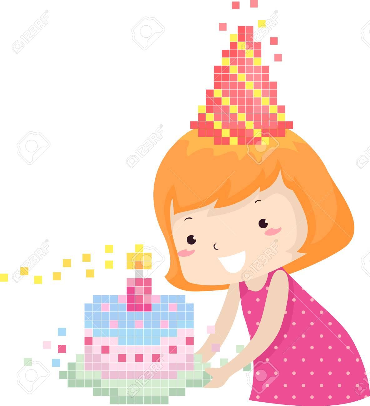 カラフルなイラストが一致するバースデー ケーキを運ぶピクセル パーティー帽子でかわいい女の子