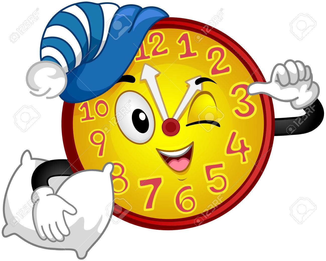 Colorful Mascot Illustration Featuring A Wall Clock Wearing A ...