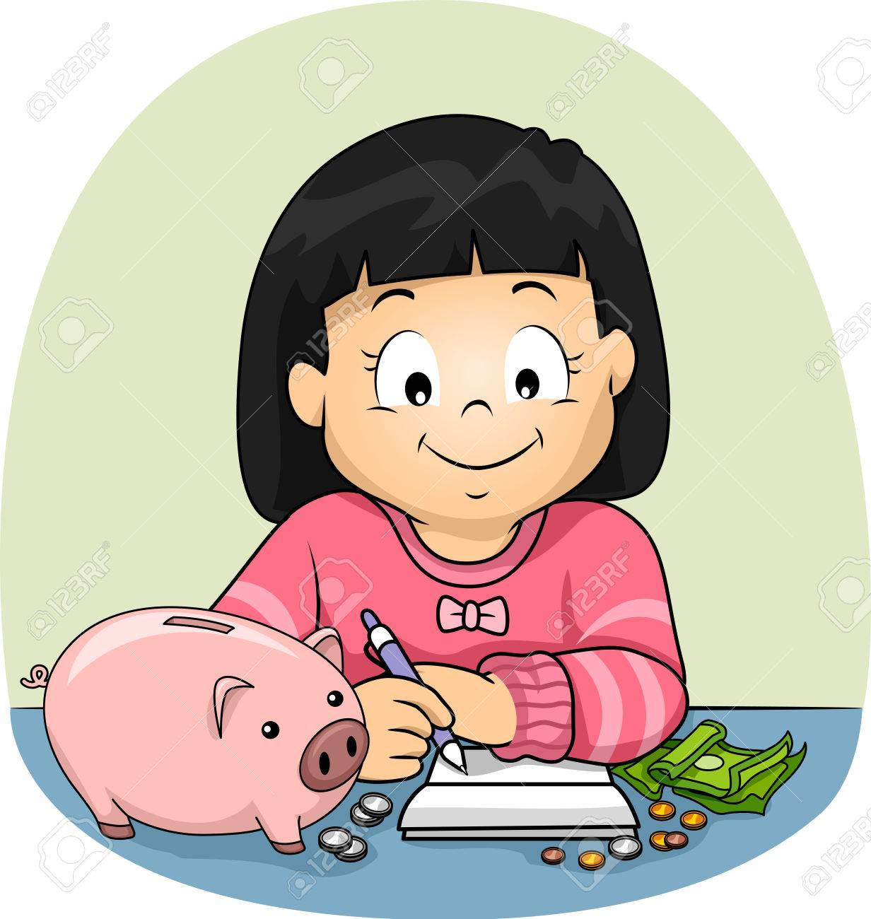 Illustration Of A Kid Girl Writing And Keeping Track Of Her Savings Stock Photo Picture And Royalty Free Image Image 86270765