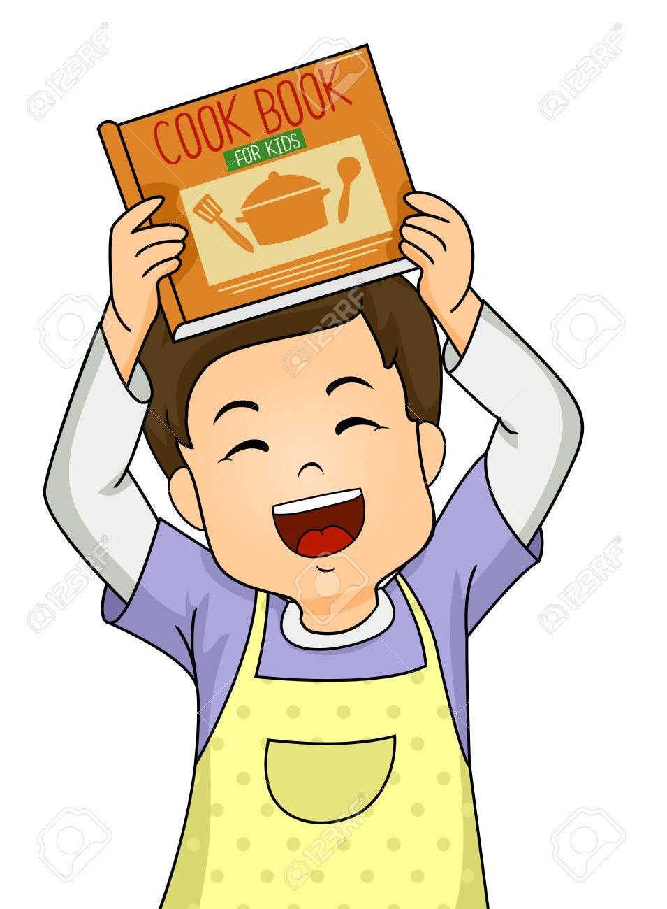 Foto De Archivo   Ilustración De Un Niño Niño Llevaba Un Delantal Mientras  Muestra Un Libro De Cocina Para Niños