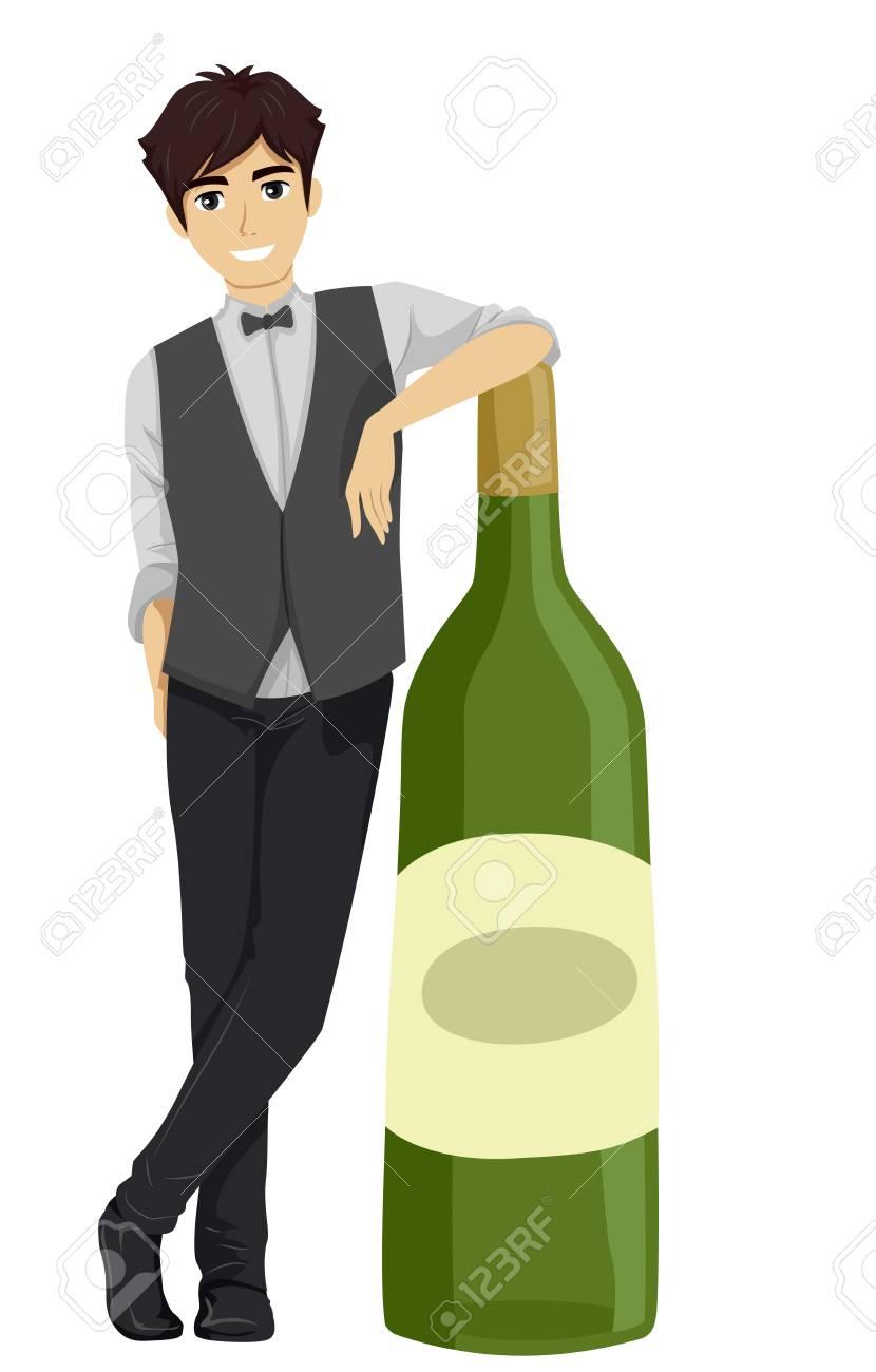 大きなワインのボトルの横に立っているバーテンダーのイラスト の写真
