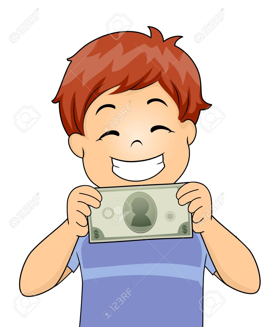 illustration of a kid boy happily showing a money bill stock photo