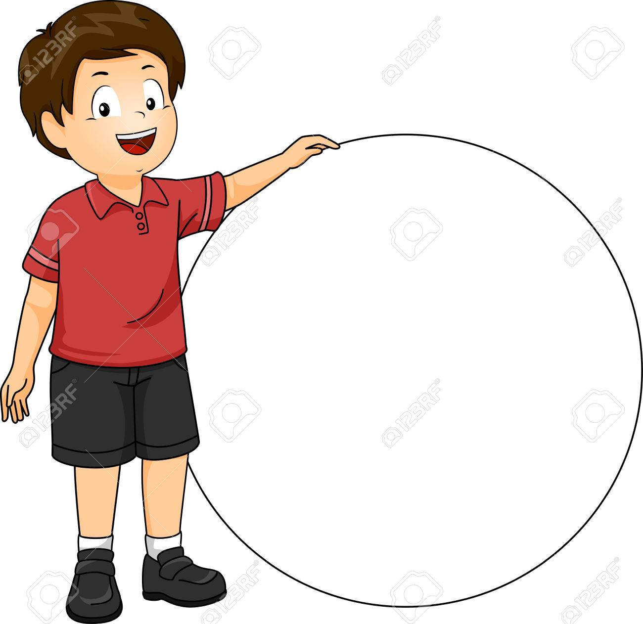 78fb95b3c Illustration of a Little Boy in a Red Polo Shirt and Black Shorts Standing  Beside a