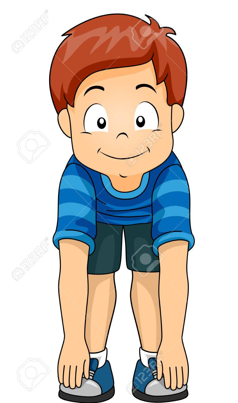 Illustration of a Little Boy Demonstrating the Different Body Parts by Touching His Toes - 87819750