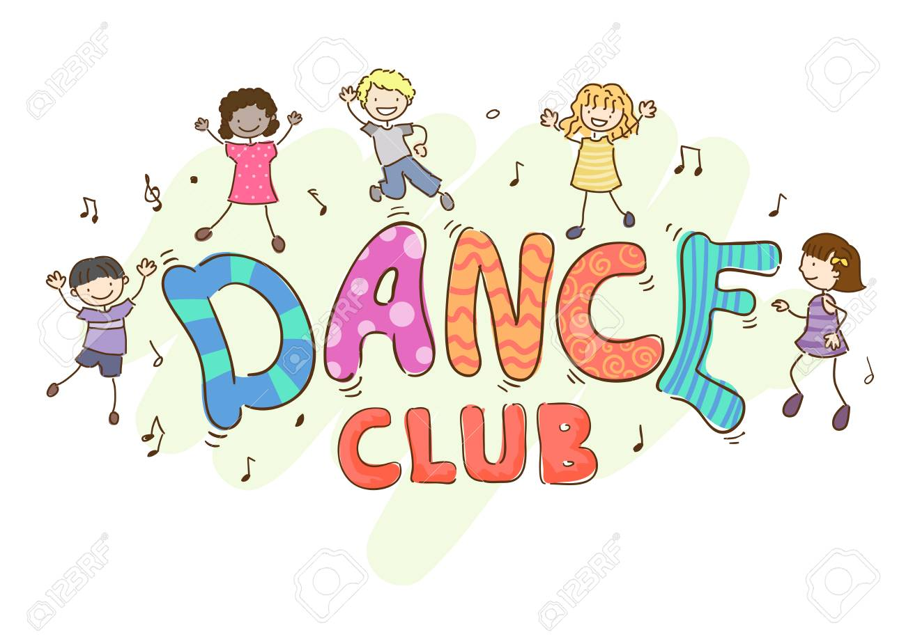 Illustration Of Stickman Kids Dancing Around A Dance Club Lettering