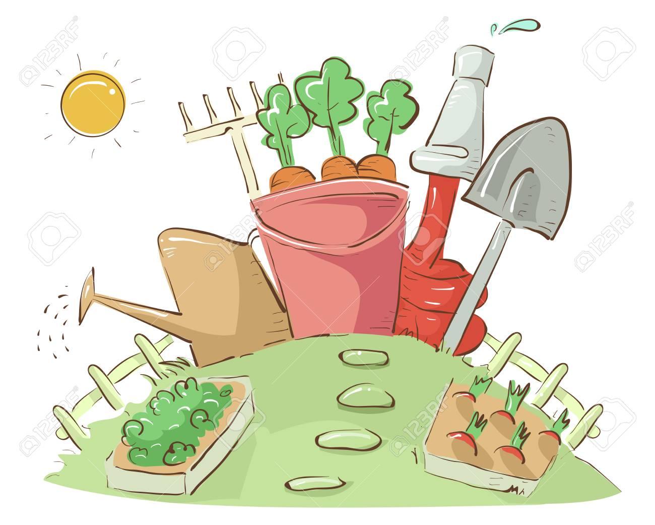 Les Outils De Jardinage Avec Photos illustration des parcelles de jardin avec différents outils de jardinage  comme le seau, arrosoir, tuyau, pelle et râteau