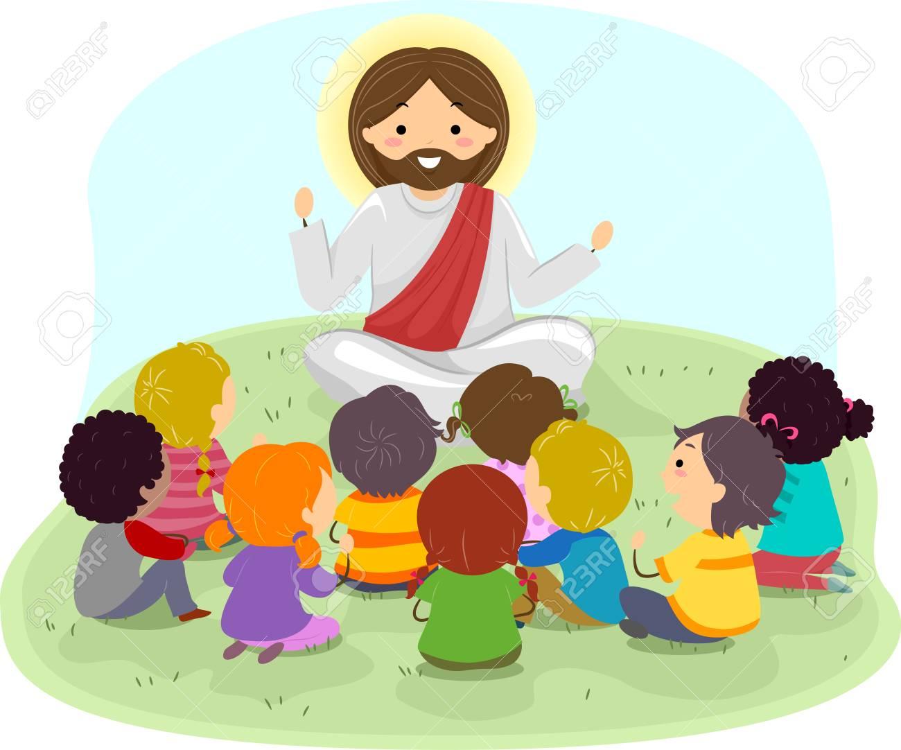 Illustration of Stickman Kids Listening to Jesus Christ Preaching Outdoors - 88561352