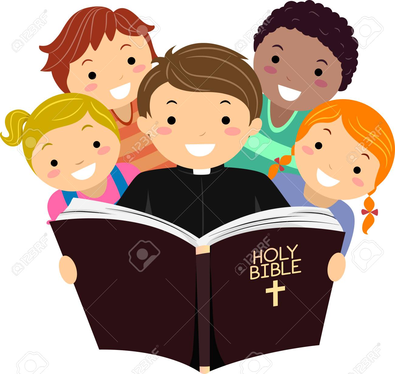 Illustration Of Stickman Kids With A Priest Reading The Holy Stock Photo Picture And Royalty Free Image Image 88560768