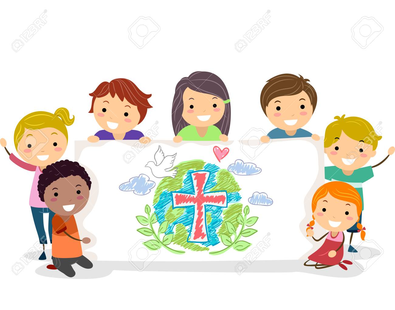 Illustration of Stickman Kids Holding Up a Christian Drawing in a Banner - 88560774