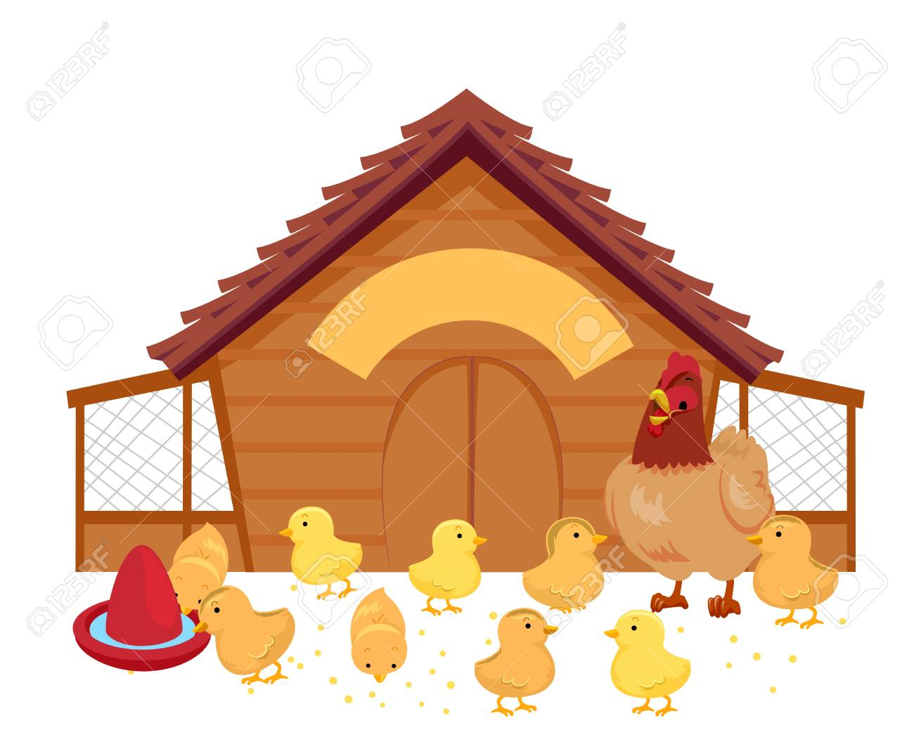Illustration Of A Hen And Her Chicks Inside Chicken Coop With