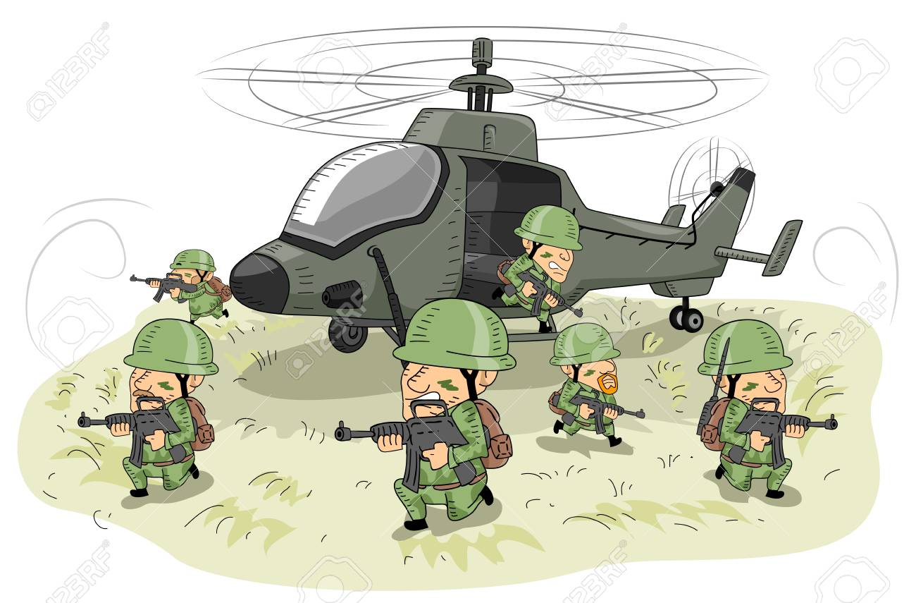 Illustration Featuring Soldiers in Uniform Taking Defensive Positions Around an Attack Helicopter - 89444815