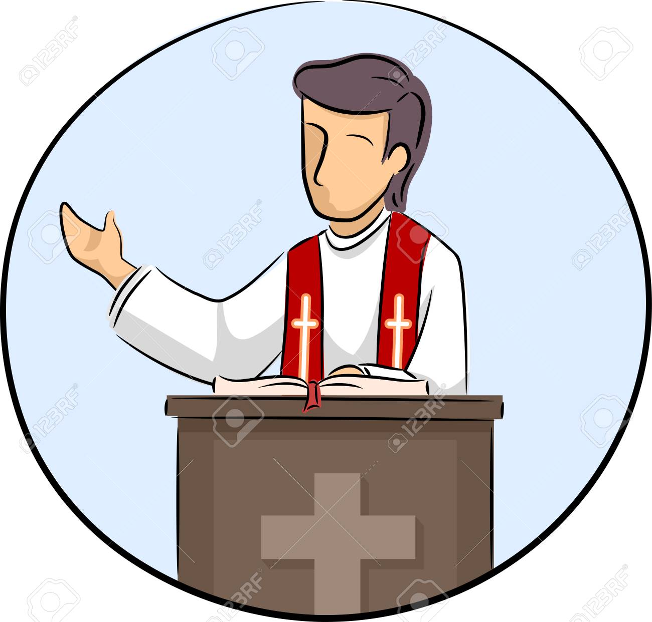 illustration of a priest preaching during the mass icon stock photo rh 123rf com preacher clipart images black preacher clipart