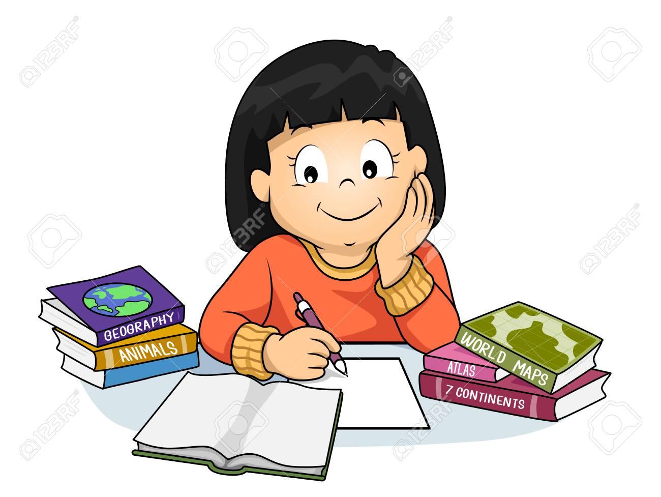 Collégienne faisant ses devoirs