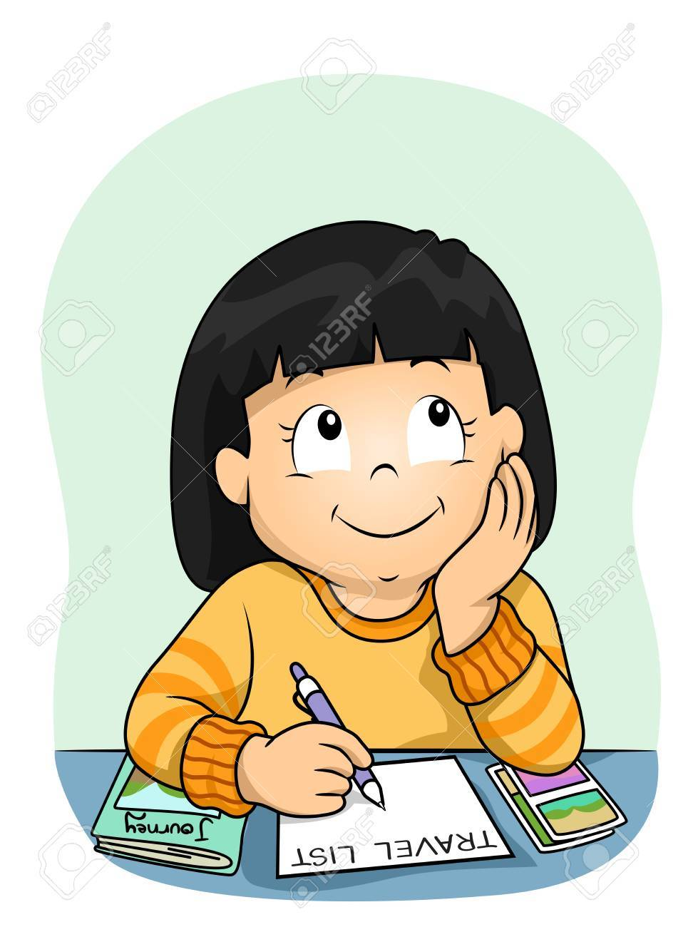 illustration of a kid girl thinking and writing about her travel