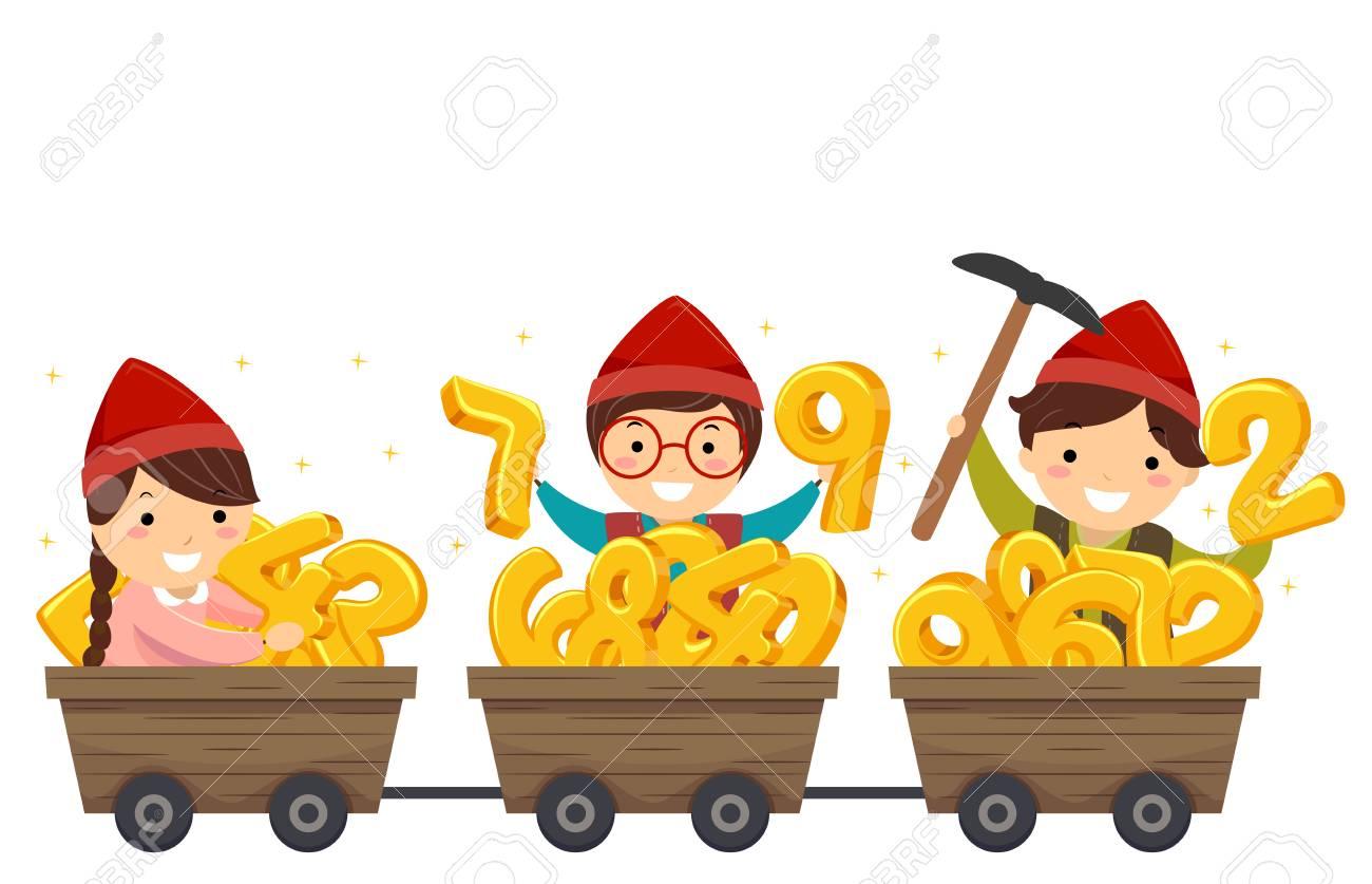 Illustration de Stickman enfants portant un costume nain avec des chariots pleins de numéros d'or