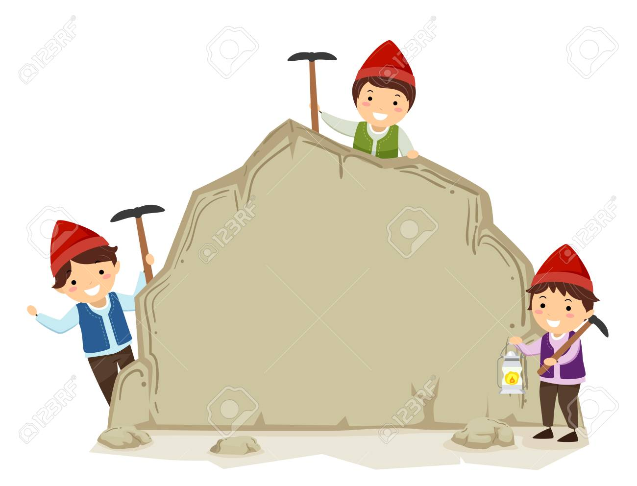 Illustration Of Stickman Kid Boys Dwarf Holding Picks And Presenting ...