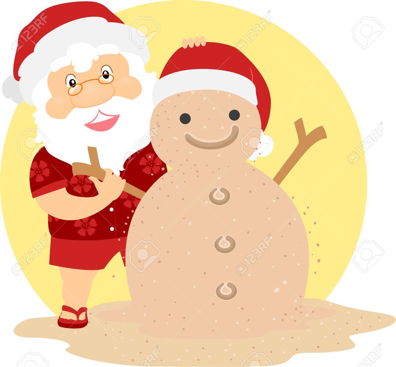 Illustration D Un Père Noël De Noël D été Faisant Un Bonhomme De Neige De Sable
