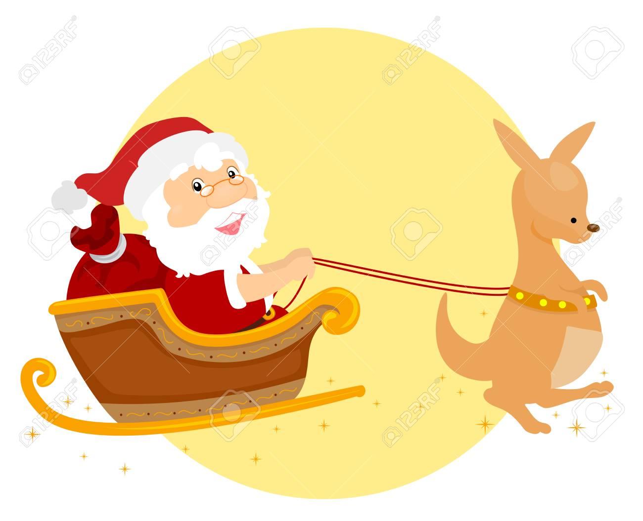 Illustration Eines Sommer-Weihnachten Santa Claus, Die Einen Känguru ...